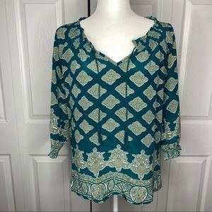 Joie Peasant Silk Top with Tassels Teal XS